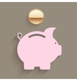 Pink piggy bank with a gold coin vector image vector image