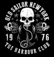 sailor skull t shirt graphic design vector image vector image