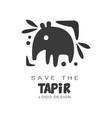 save the tapir logo design protection of wild vector image vector image