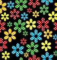 Seamless pattern with colored dotted flowers vector image vector image