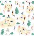 seamless pattern with crowd people performing vector image vector image