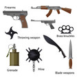 set of military weapons and shotgun in the vector image vector image