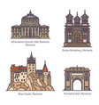 set romania architecture landmarks in thin line vector image vector image
