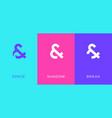 set symbol and ampersand minimal logo icon vector image vector image