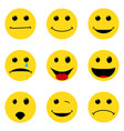 smile faces pack different emotions simple flat vector image