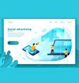 social network advertisement work process vector image vector image