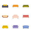 sofa bed icons set cartoon style vector image