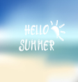Summer beach background and text Hello summer vector image vector image