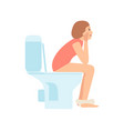 thoughtful young woman or girl sitting on toilet vector image