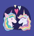 unicorns rainbow hair animal fantasy love hearts vector image vector image