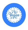 Vegan icon in black style isolated on white vector image vector image