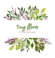 watercolor tiny floral elements stripe banner vector image
