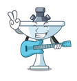 with guitar on bath room cartoon sink shape vector image