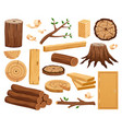 wood industry flat set vector image vector image