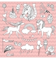 White unicorns with a black outline on pink vector image