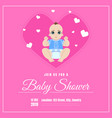 bashower invitation template pink card vector image vector image