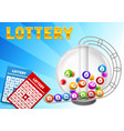 bingo or lottery card with balls and lotto machine vector image vector image