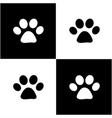 black white paw prints card vector image