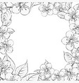 blooming sakura rectangle frame vector image vector image