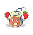 boxing tea bag character cartoon vector image vector image