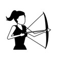 business woman holding bow and arrow vector image