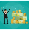 businessman standing near huge pile of money vector image vector image
