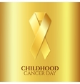 Childhood cancer golden ribbon vector image