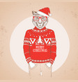 christmas hipster fashion animal cheetah vector image vector image