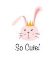 cute bunny with i love you typography card vector image vector image