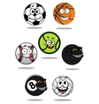 Cute cartoon sports balls mascot characters vector image vector image