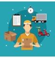 delivery service man carton box concept vector image