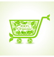 eco shopping cart with group of green leaf vector image vector image