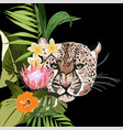 graceful leopard and tropical flowers vector image vector image