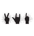 grunge hand signs peace rock and indication finger vector image vector image