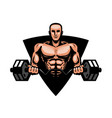 gym bodybuilding fitness logo or label muscular vector image vector image