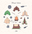 hand drawn camping set with tents bonfire vector image