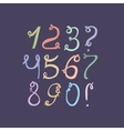 Hand drawn colorful funky digits isolated on dark vector image vector image