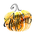 happy halloween lettering on watercolor background vector image
