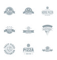 hot pizza logo set simple style vector image
