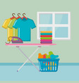 ironing board with laundry service icons vector image vector image