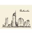 Jakarta skyline hand drawn sketch vector image