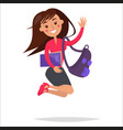 jumping girl student with backpack and notebook vector image vector image