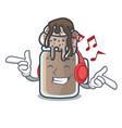 listening music milkshake mascot cartoon style vector image vector image