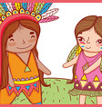 man and woman indigenous with feathers hairstyle vector image vector image