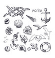 marine topic hand drawn elements isolated on vector image