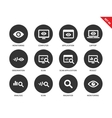 Monitoring icons on white background vector image vector image