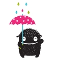 Monster for Kids with Umbrella under Colorful Rain vector image
