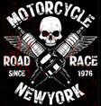 motorcycle t shirt graphic design with skull vector image vector image