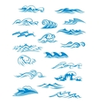 Ocean or sea waves surf and splashes set vector image vector image