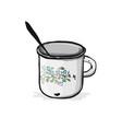 old enameled mug sketch for your design vector image